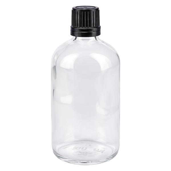 Flacon pharmaceutique clair 100 ml bouchon compte-gouttes noir bague inviolable