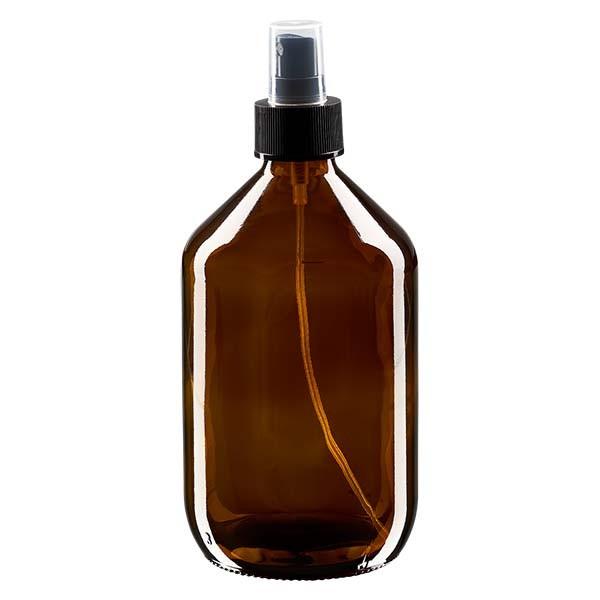 Flacon médical norme européenne de 500 ml avec spray noir GCMI 28/410 et couvercle transparent, standard