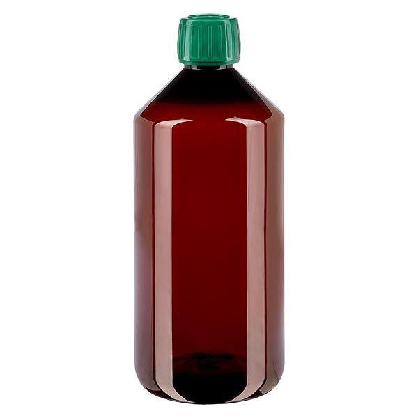 Flacon médical de 1000 ml en PET, avec bouchon à vis vert PP28
