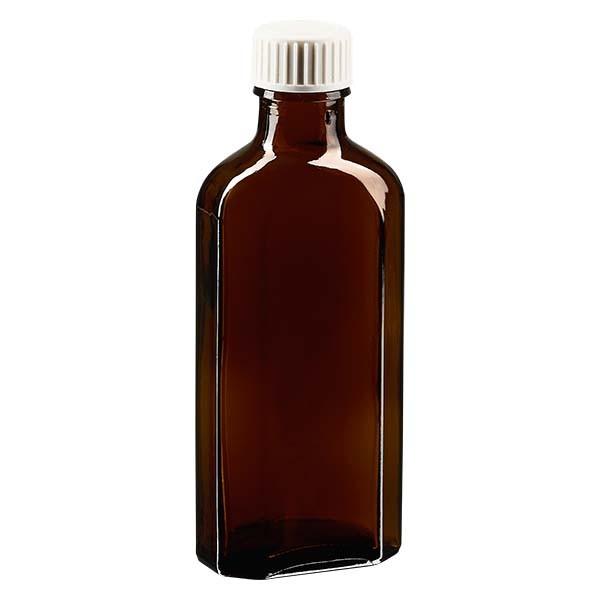 Flasque brune de 100 ml au goulot DIN 22, avec bouchon à vis DIN 22 blanc en PP