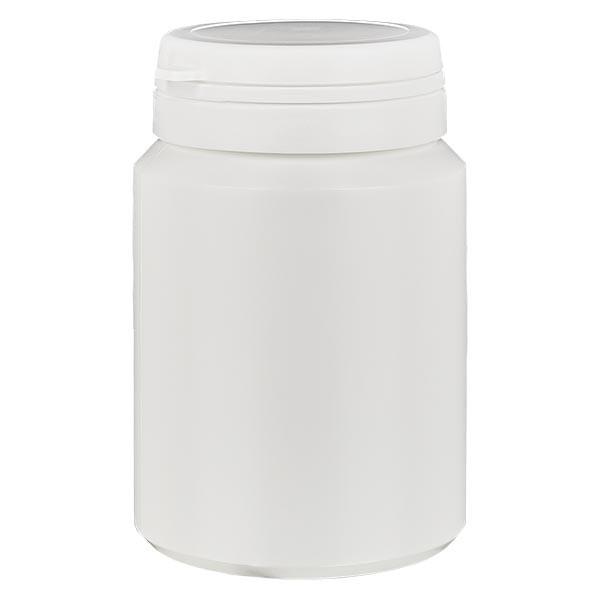 Boîte à comprimés blanche 150ml + Jaycap inviolable blanc