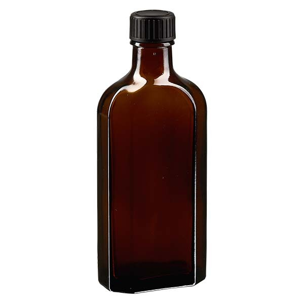 Flasque brune de 150 ml au goulot DIN 22, avec bouchon à vis DIN 22 noir au joint LKD