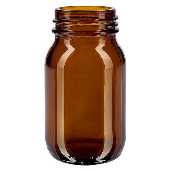 Bocal à col large en verre ambré 100 ml, goulot DIN 40, sans couvercle