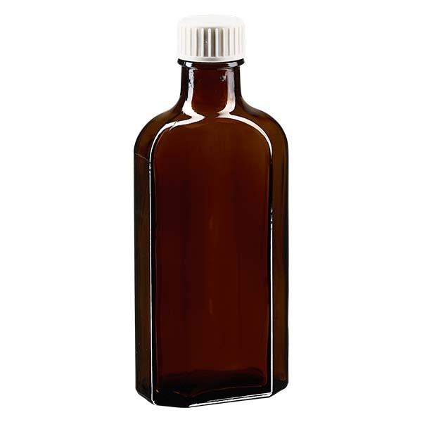 Flasque brune de 125 ml au goulot DIN 22, avec bouchon à vis DIN 22 blanc en PP et joint mousse en PE