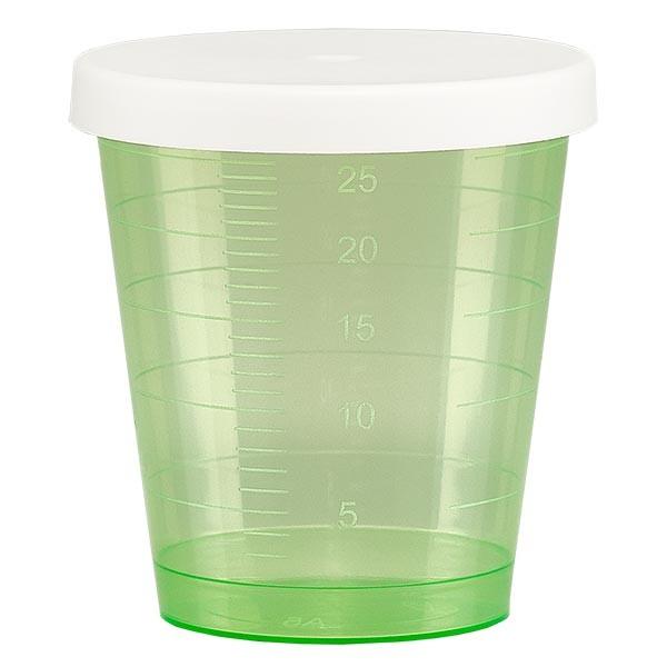 Gobelet à médicaments 30 ml + couvercle à déclic (gobelet pharmaceutique / verre à eau-de-vie) couleur : vert
