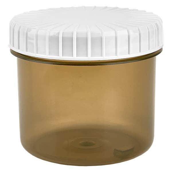 Pot en plastique couleur Shadow 135 ml + couvercle à vis blanc strié en PE, fermeture standard