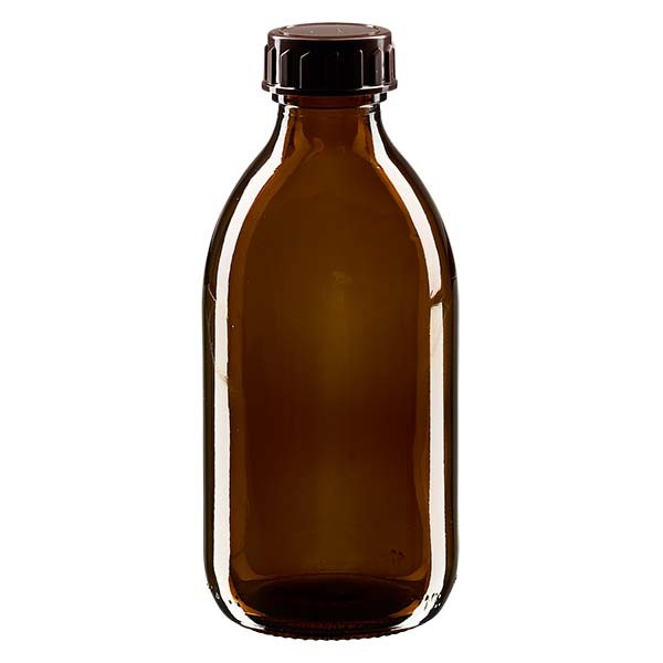 Flacon médical de 250 ml avec bouchon marron