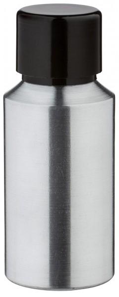 Bouteille en aluminium poncé 30 ml, avec bouchon à vis noir et joint conique