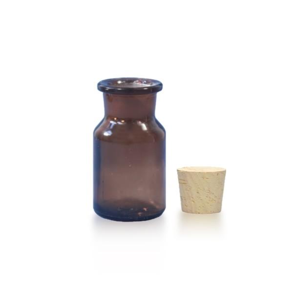 Flacon à col conique et large 50 ml en verre ambré + bouchon de liège