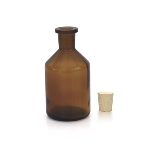 Flacon à col conique et étroit 100 ml en verre ambré + bouchon de liège