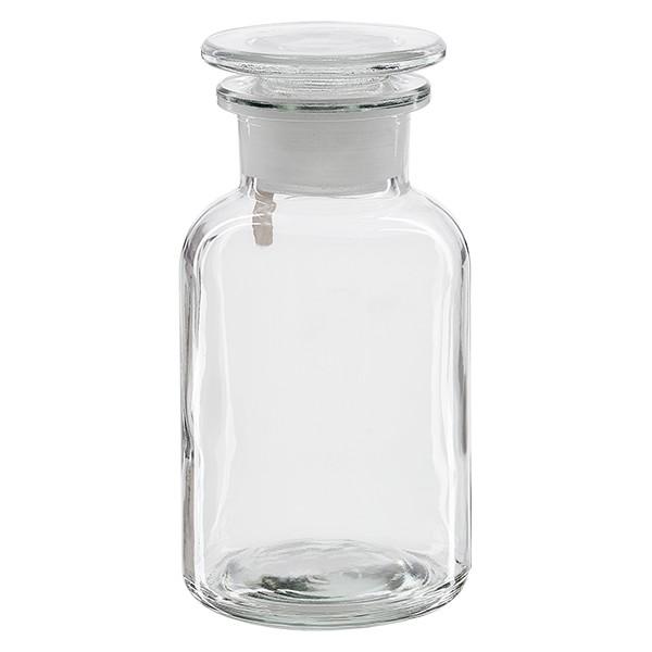 Apothekerflasche 250 ml Weithals Klarglas inkl. Glasstopfen