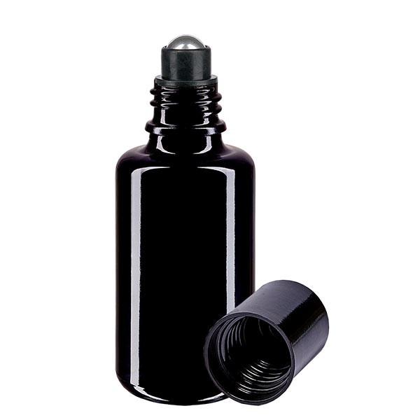 Flacon de déodorant en verre violet 30 ml, déo à bille vide