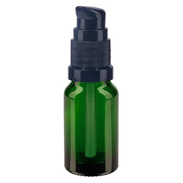 Flacon compte-gouttes vert 10ml avec bouchon à pompe noir
