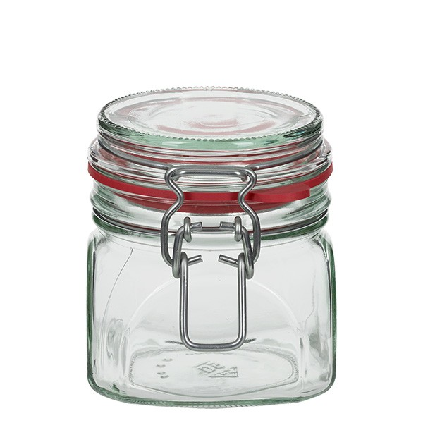 Bocal à armature / bocal carré de 370 ml, convient à la pasteurisation