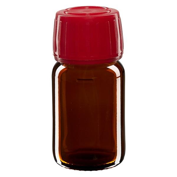 Flacon médical 30 ml couleur ambrée avec bouchon rouge