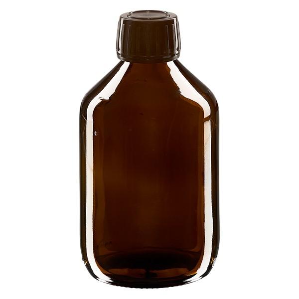 Flacon médical 300 ml couleur ambrée avec bouchon brun