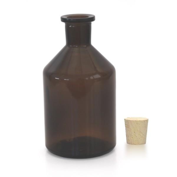 Flacon à col conique et étroit 250 ml en verre ambré + bouchon de liège