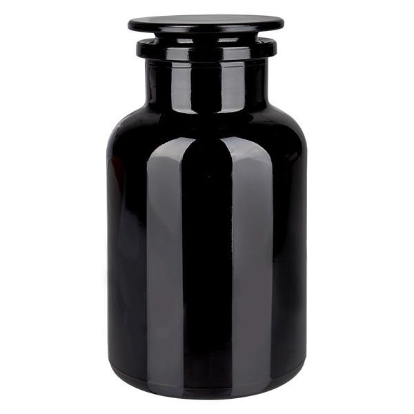 Flacon pharmaceutique en verre violet 1000 ml, col large + bouchon de verre