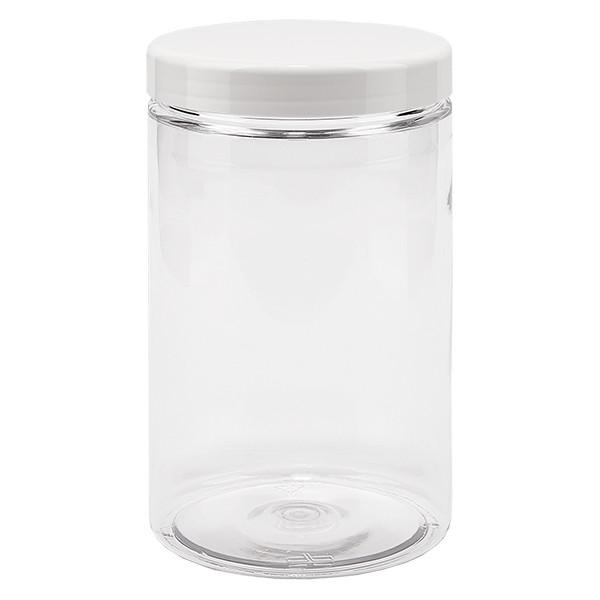 Pot à vis en PET clair 400 ml avec couvercle blanc