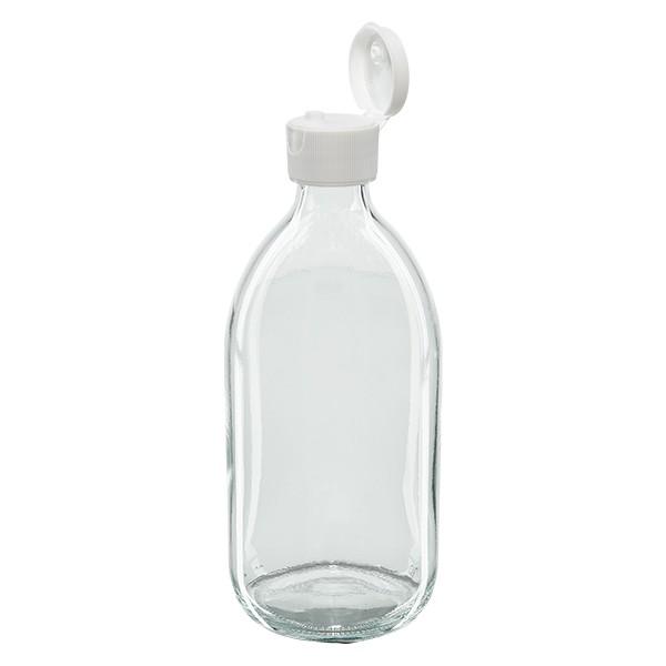Flacon médical 500 ml couleur claire avec couvercle à charnière blanc