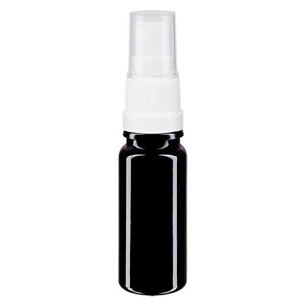 Flacon en verre violet 10 ml DIN18 (verre Miron) avec spray