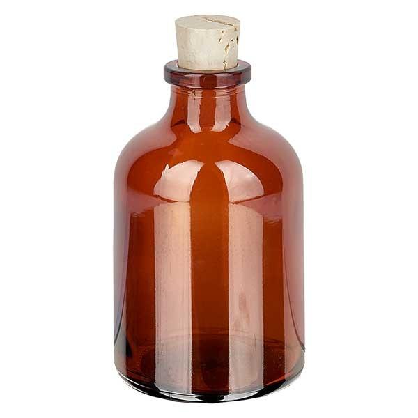 Flacon en verre ambré 50 ml avec bouchon de liège 11/14 mm