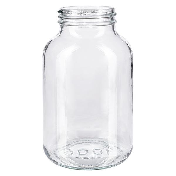 Bocal à col large en verre clair 1000 ml, goulot DIN 68, sans couvercle