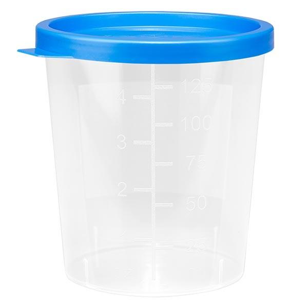 Pot à urine teinte naturelle 125 ml + couvercle à déclic bleu