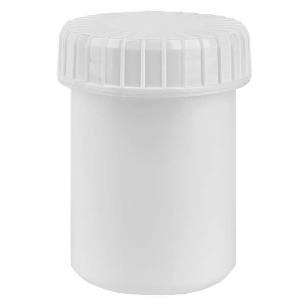Pot en plastique blanc 40 ml + couvercle à vis blanc strié en PE, fermeture standard