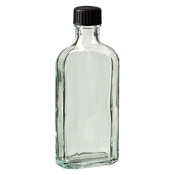Flasque transparente de 125 ml au goulot DIN 22, avec bouchon à vis DIN 22 noir et joint PEE