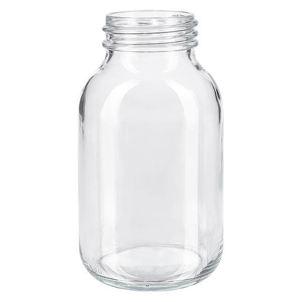 Bocal à col large en verre clair 500 ml, goulot DIN 55, sans couvercle