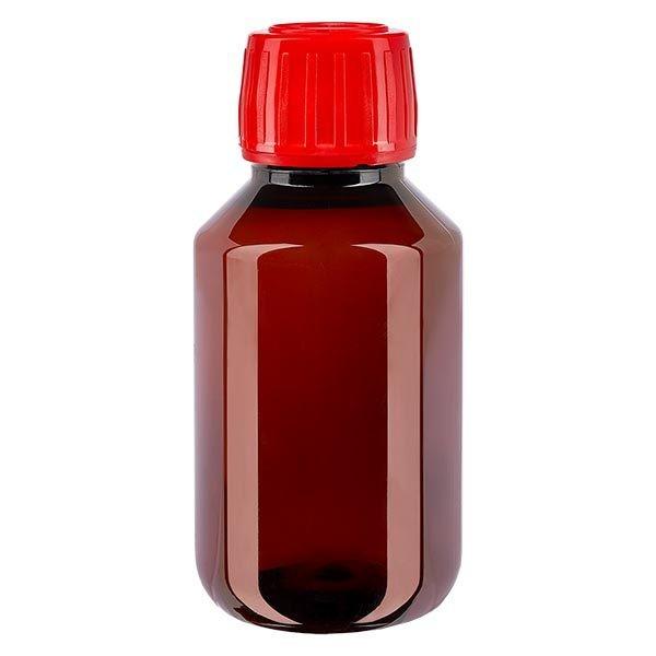 Flacon médical de 100 ml en PET, avec bouchon à vis rouge PP28