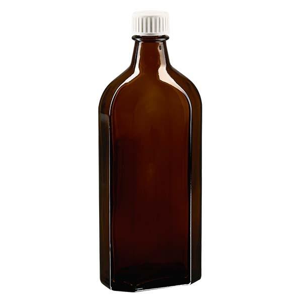 Flasque brune de 250 ml au goulot DIN 22, avec bouchon à vis DIN 22 blanc en PP et joint mousse en PE