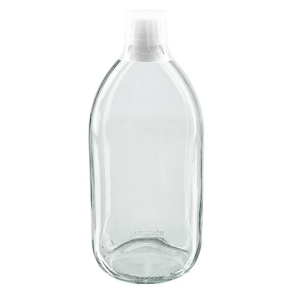 Flacon médical 1000 ml couleur claire avec bouchon blanc et gobelet doseur