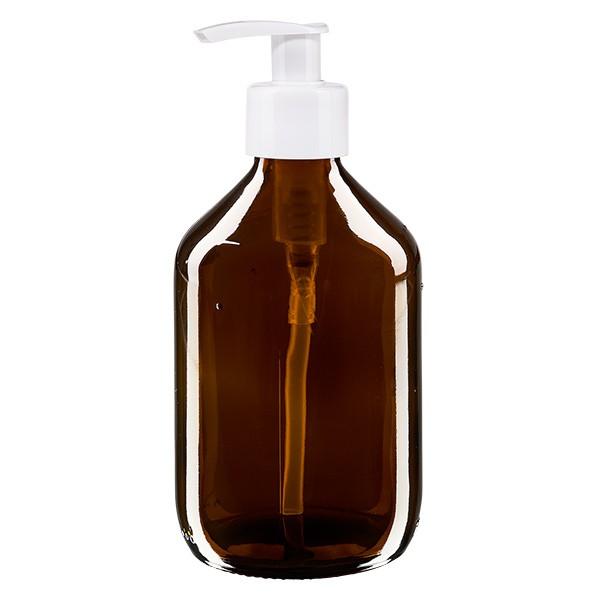Flacon médical de 300 ml avec pompe doseuse blanche
