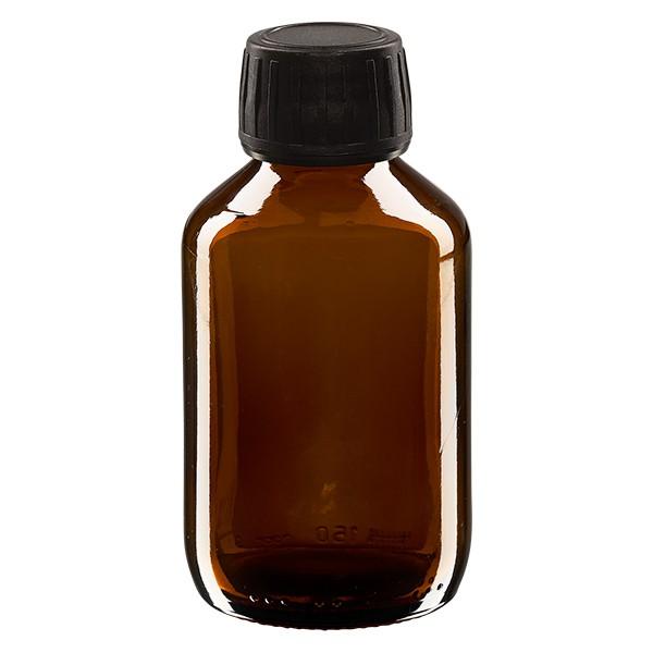 Flacon médical 150 ml couleur ambrée avec bouchon noir
