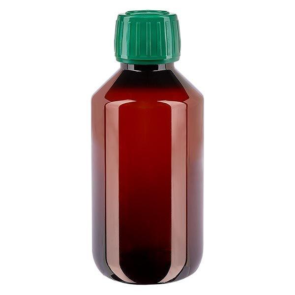 Flacon médical de 200 ml en PET, avec bouchon à vis vert PP28