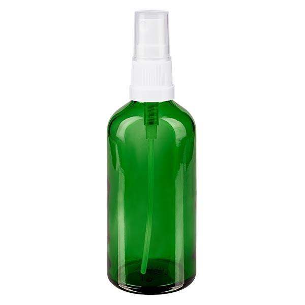 Flacon compte-gouttes vert 100 ml, DIN18 avec spray