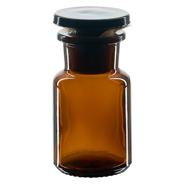 Apothekerflasche 50 ml Weithals Braunglas inkl. Glasstopfen