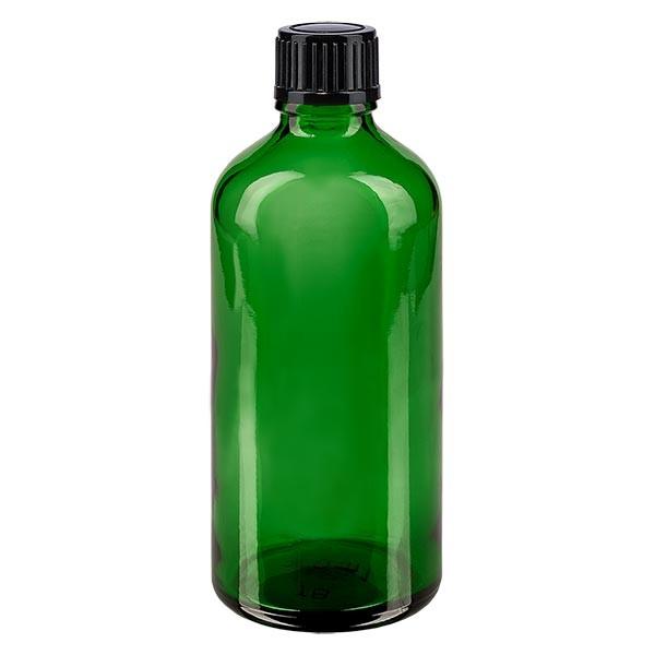 Flacon pharmaceutique vert 100 ml bouchon compte-gouttes 1 mm noir standard