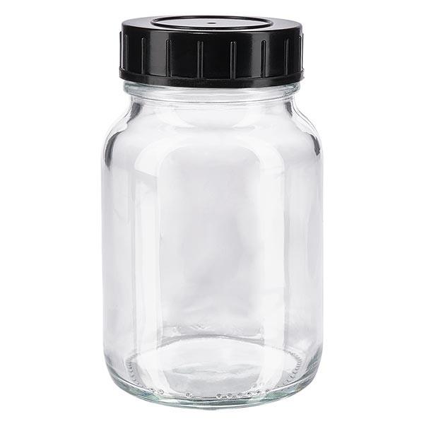 Bocal à col large en verre clair 250 ml + couvercle à vis