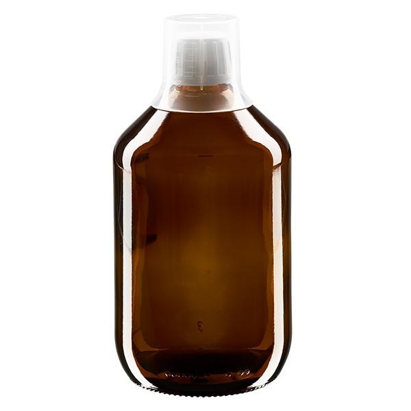 Flacon médical norme européenne de 500 ml, avec bouchon à vis blanc et gobelet doseur de 30 ml
