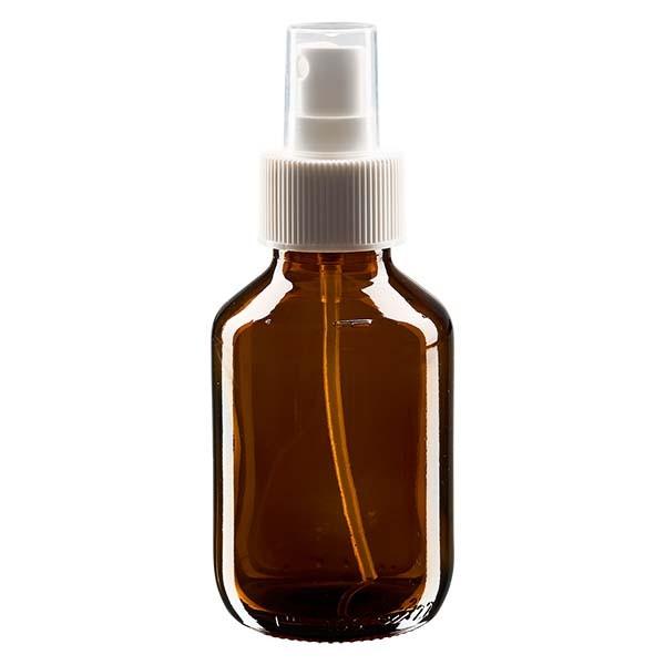 Flacon médical norme européenne de 100 ml avec spray blanc GCMI 28/410 et couvercle transparent, standard