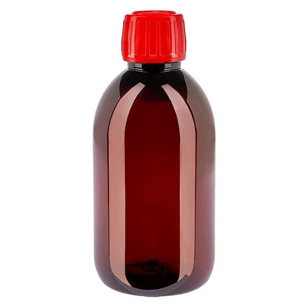 Flacon médical de 250 ml en PET, avec bouchon à vis rouge PP28