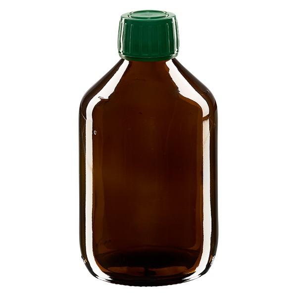 Flacon médical 300 ml couleur ambrée avec bouchon verte