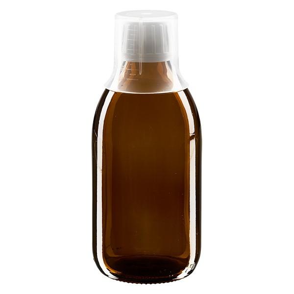 Flacon médical norme européenne de 250 ml, avec bouchon à vis blanc et gobelet doseur de 30 ml