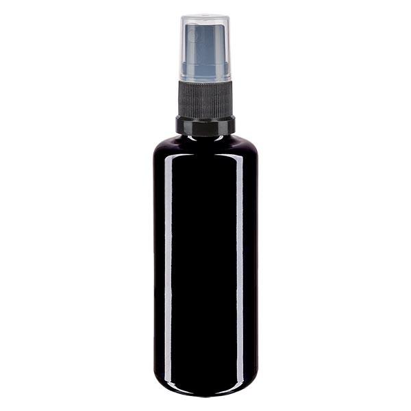 Flacon en verre violet 50 ml DIN18 (verre Miron) avec spray