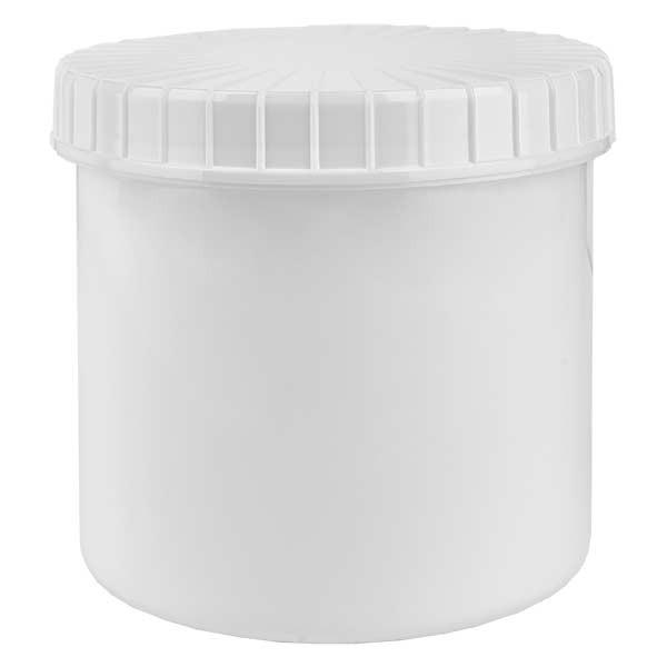Pot en plastique blanc 375 ml + couvercle à vis blanc strié en PE, fermeture standard