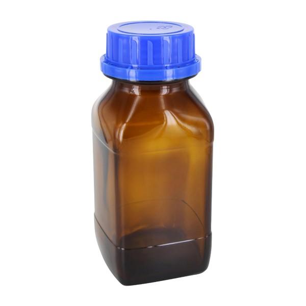 Flacon carré à col large en verre ambré 500 ml, avec bouchon à vis bleu de norme DIN 54, système d'inviolabilité et joint en PEE