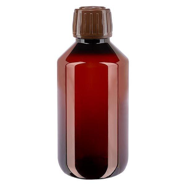Flacon médical de 200 ml en PET, avec bouchon à vis brun PP28